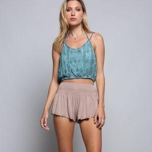 """""""The Lorna"""" Dusty Mint Grid Crochet Crop Top"""